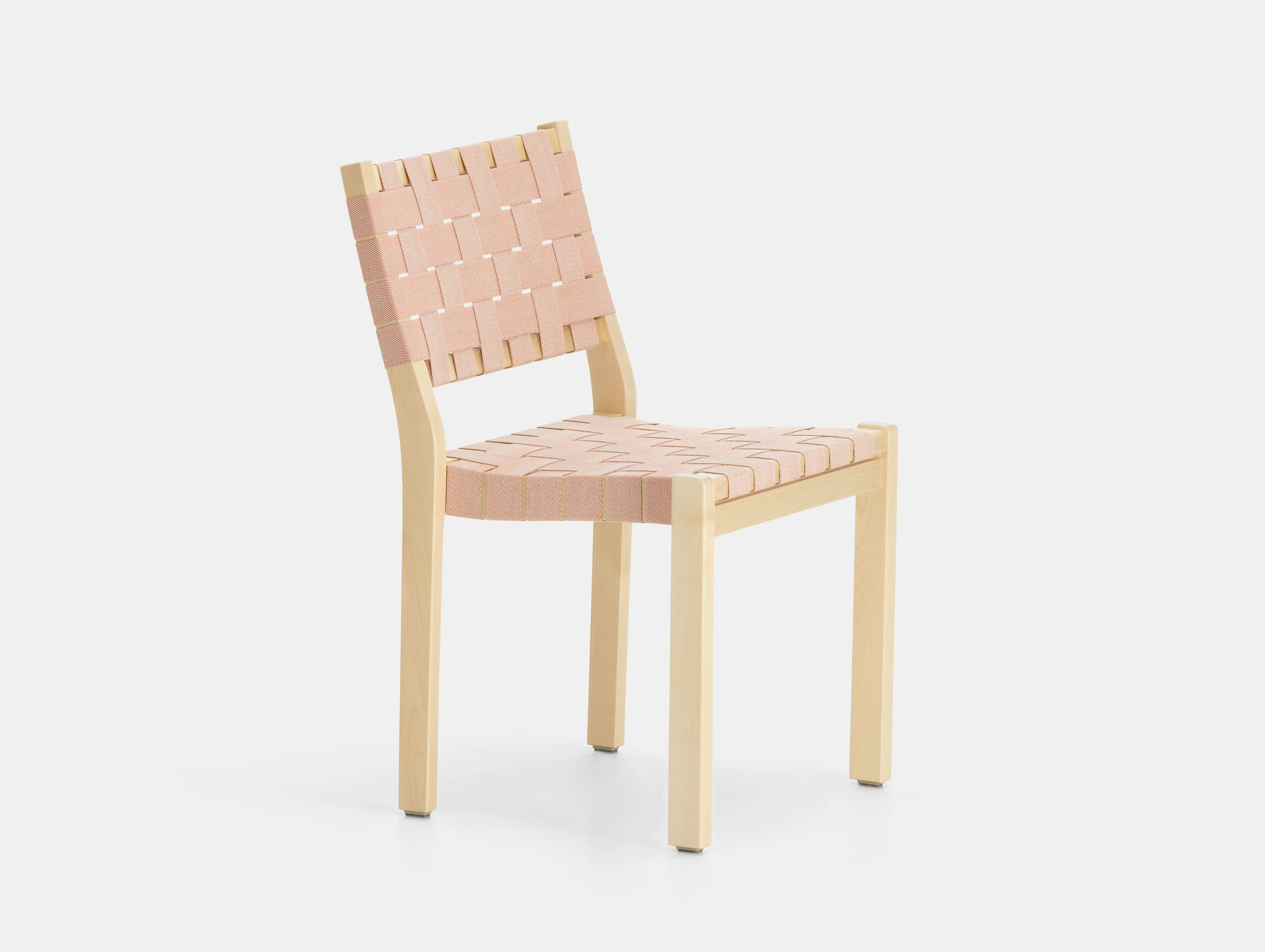 Artek Chair 611 Birch Natural Red Alvar Aalto