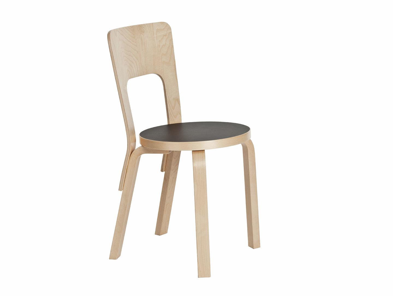 Artek Chair 66 Birch Black Linoleum Alvar Aalto