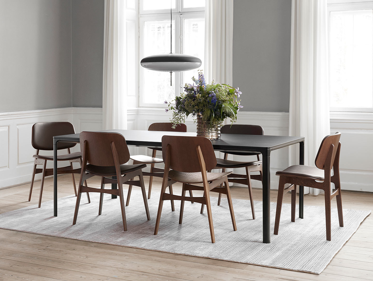Fredericia Soborg Chairs Wood Base Borge Mogensen