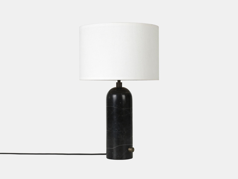 Gubi Gravity Table Lamp Black Marble White Shade Space Copenhagen