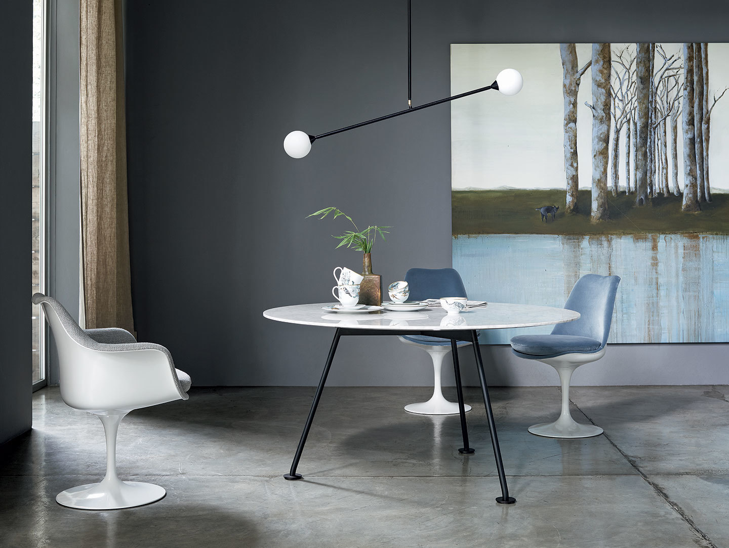 Knoll Grasshopper Table Round White Marble Piero Lissoni