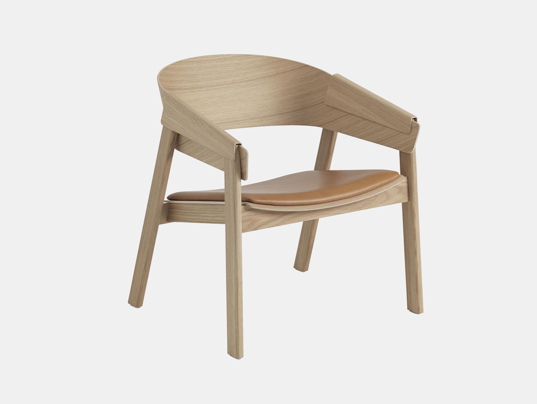 Muuto Cover Lounge Chair Upholstered Seat Oak Leather Thomas Bentzen