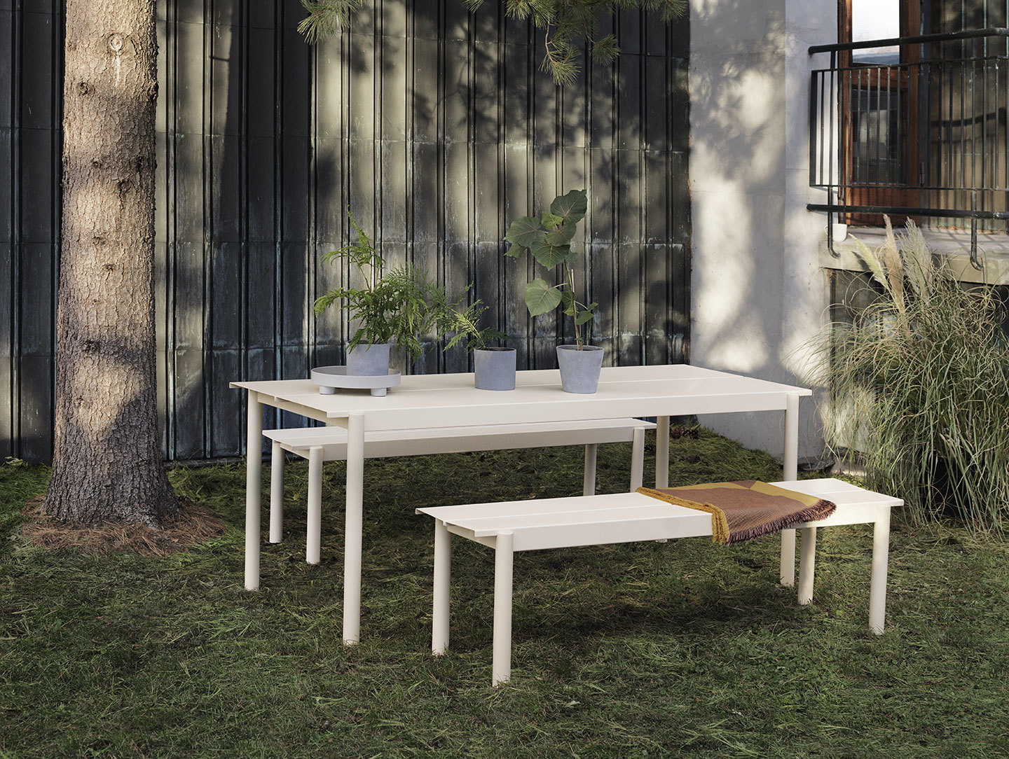 Muuto Linear Steel Outdoor Table And Bench Off White Thomas Bentzen