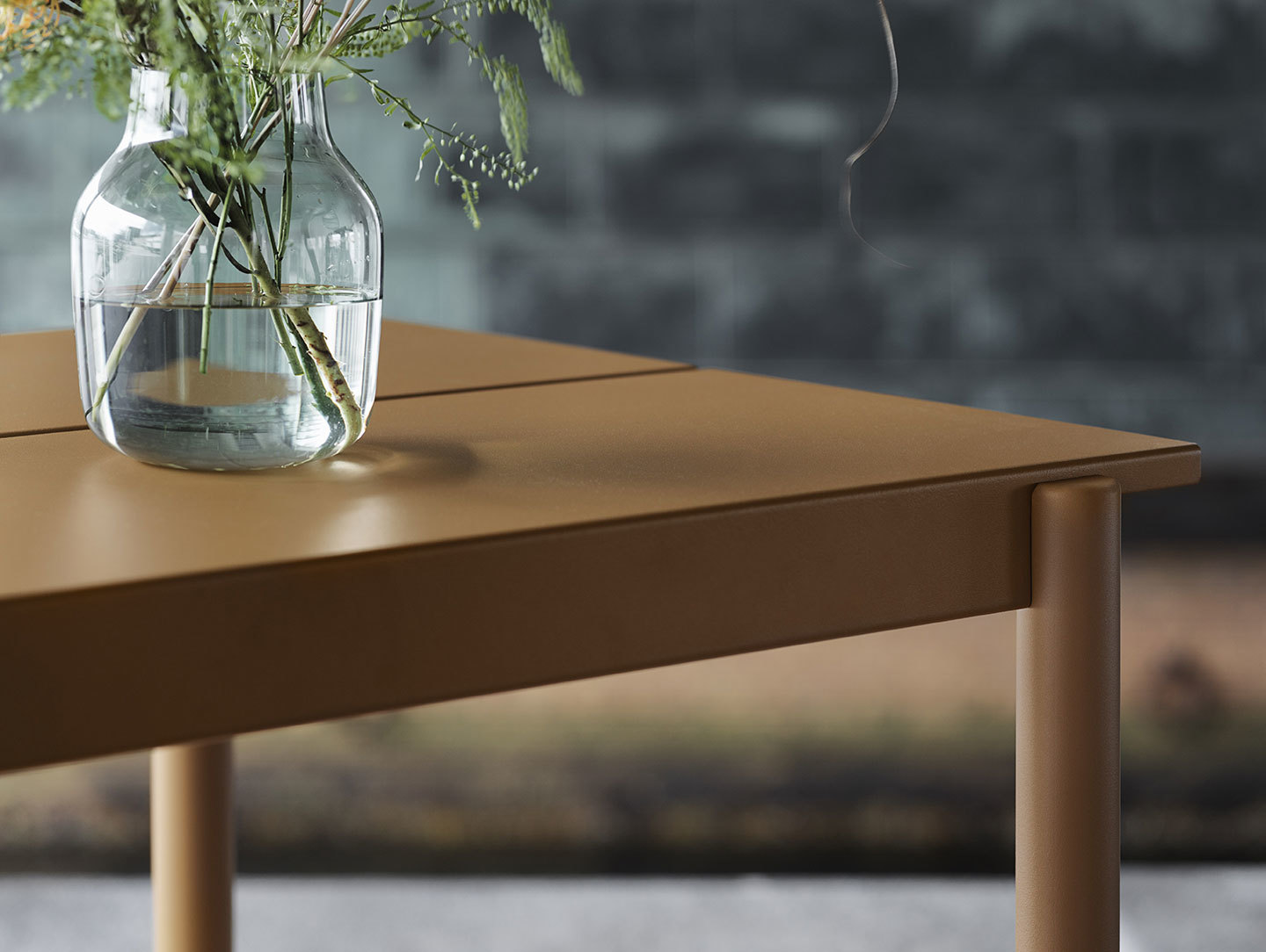 Muuto Linear Steel Outdoor Table Detail Burnt Orange Thomas Bentzen