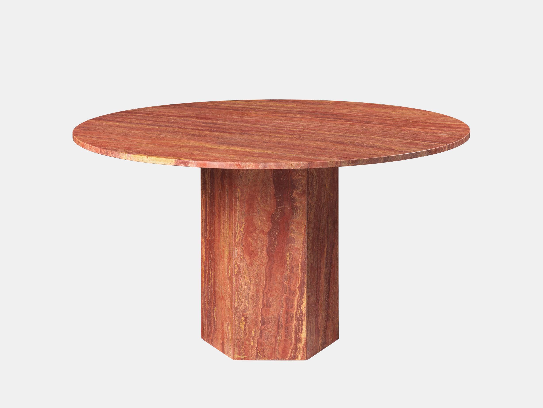 Gubi Epic Dining Table red travertine Gam Fratesi