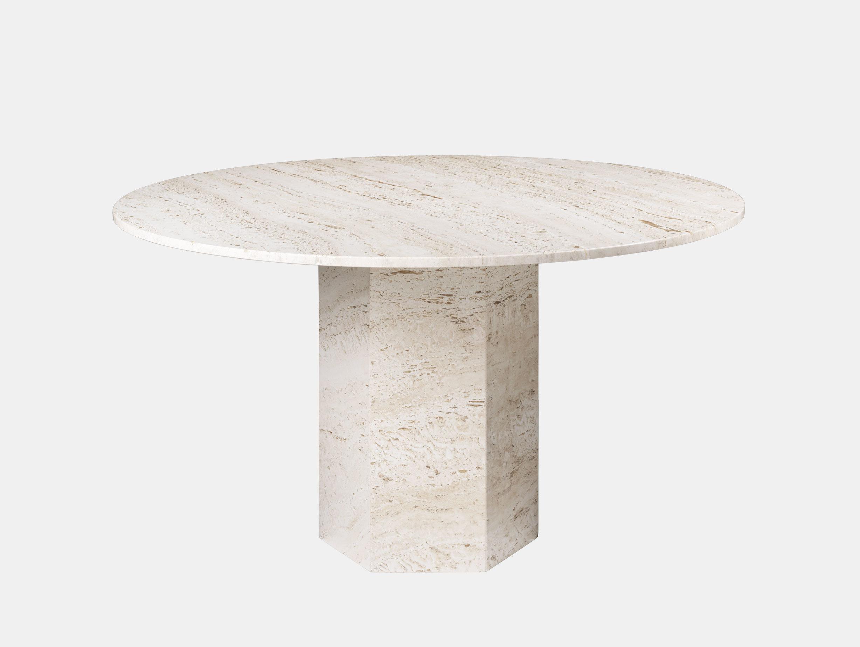 Gubi Epic Dining Table white travertine Gam Fratesi