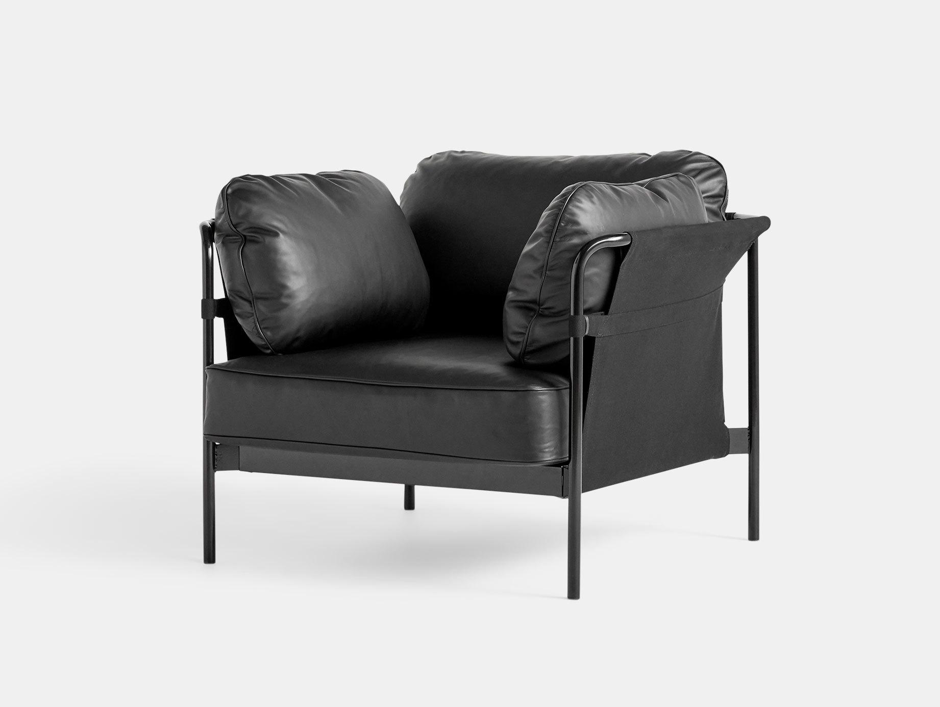 Hay Can Armchair Black Leather Ronan Erwan Bouroullec