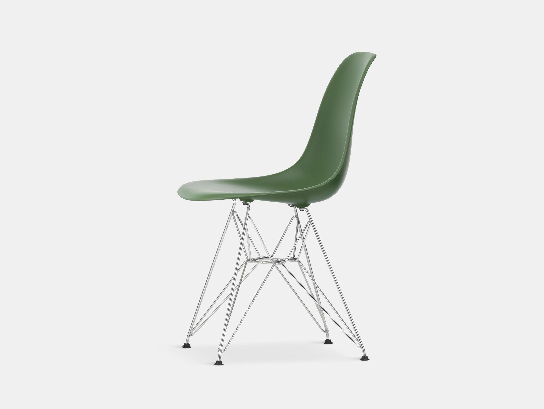 Vitra Eames Plastic Side Chair DSR forest chrome legs