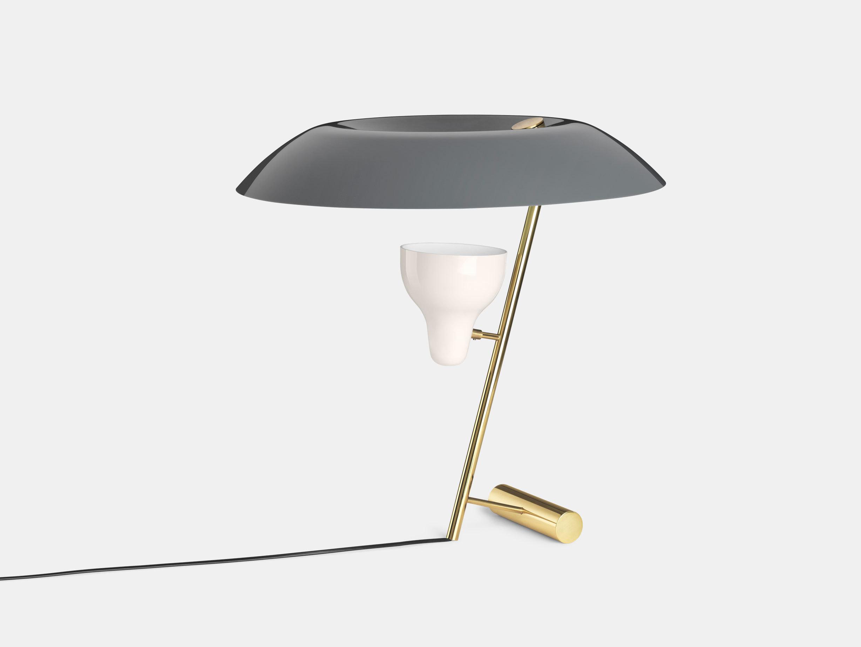 Astep Model 548 Table Light Grey Brass Gino Sarfatti