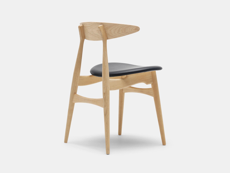 Carl Hansen Ch33 Chair Oak Black Leather Back Hans Wegner