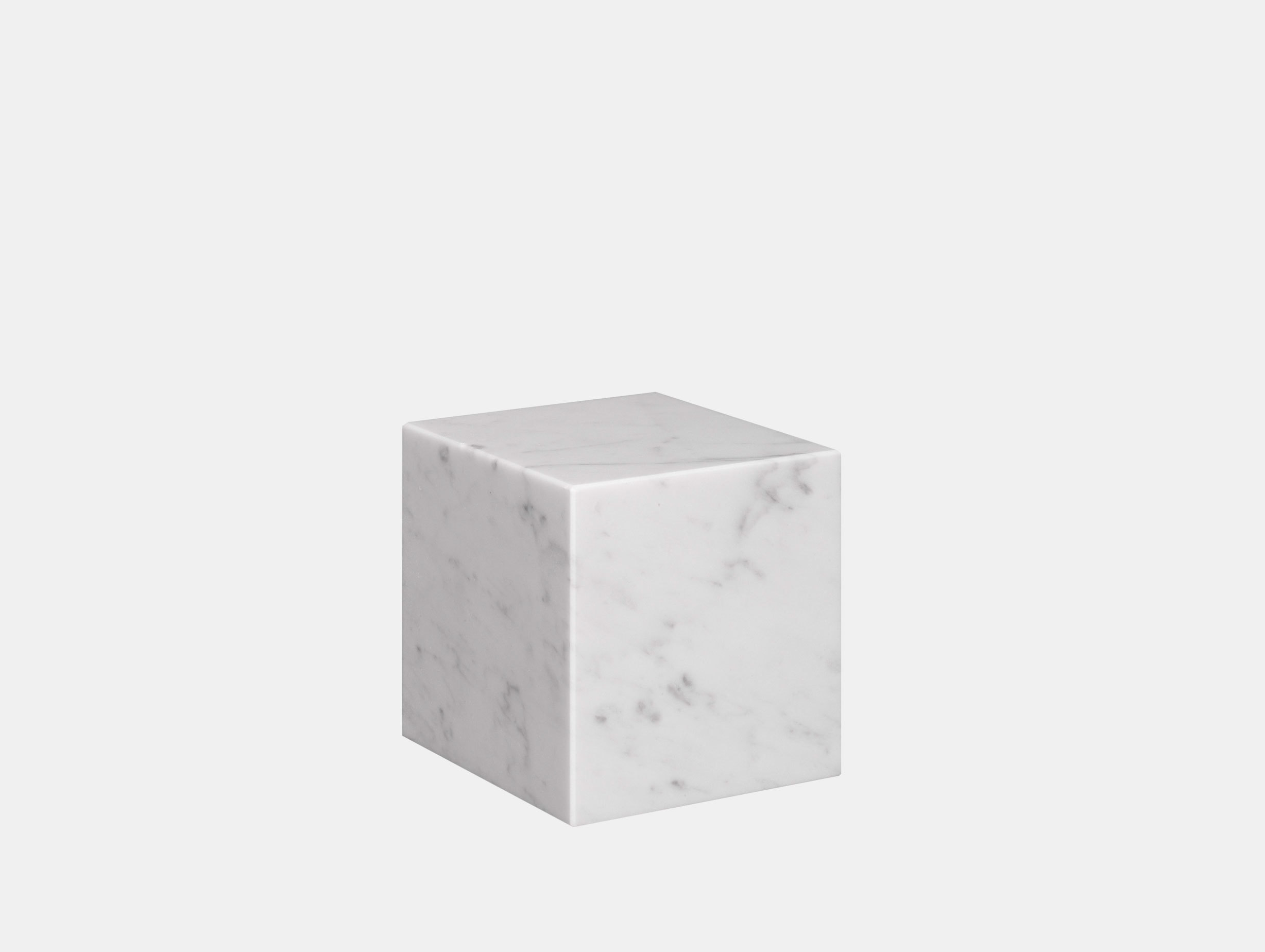 E15 Stop Bookend Cube White Marble Philipp Mainzer