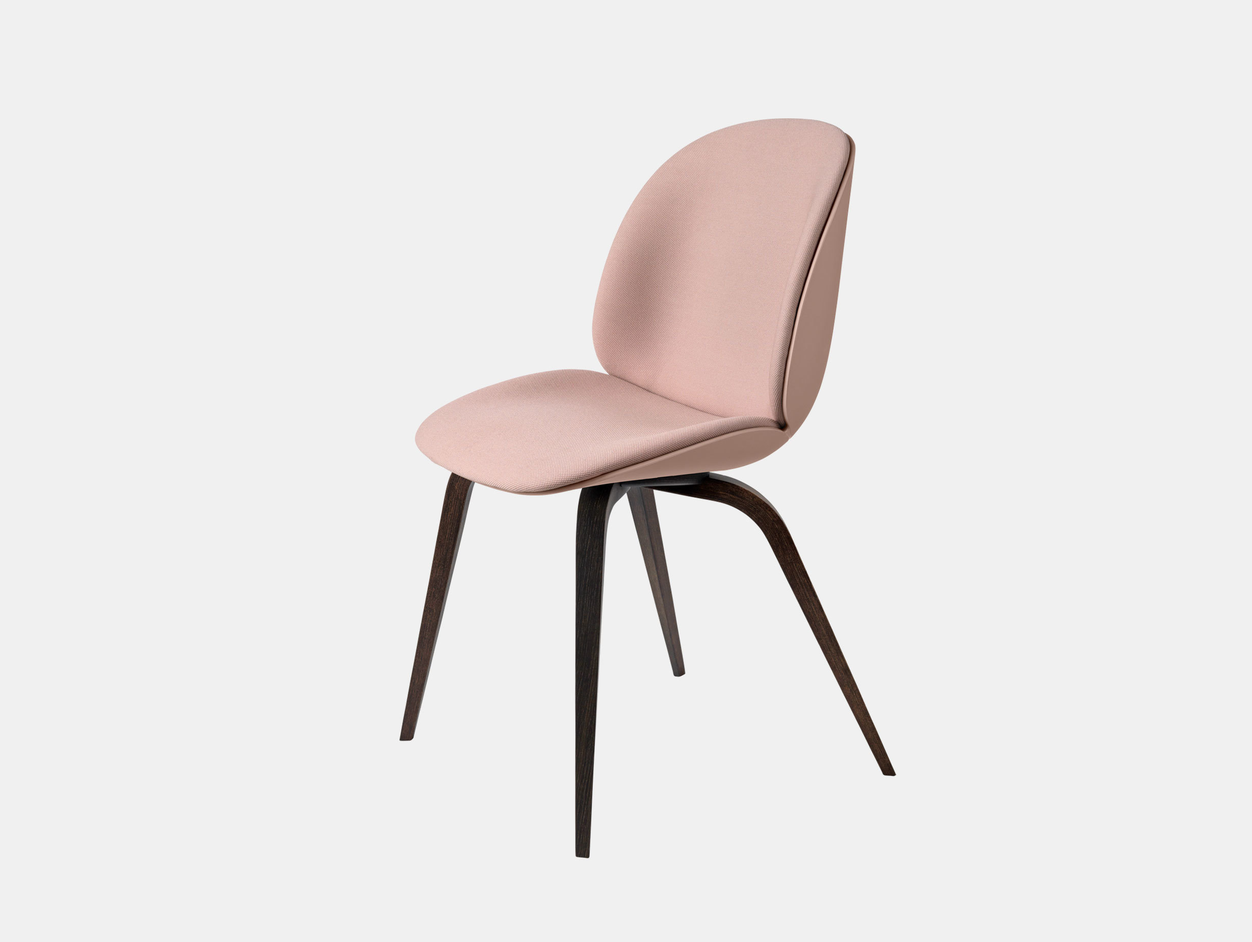 Gubi Beetle Chair Smoked Oak Sweet Pink Steelcut 605 Front Upholstery Gam Fratesi