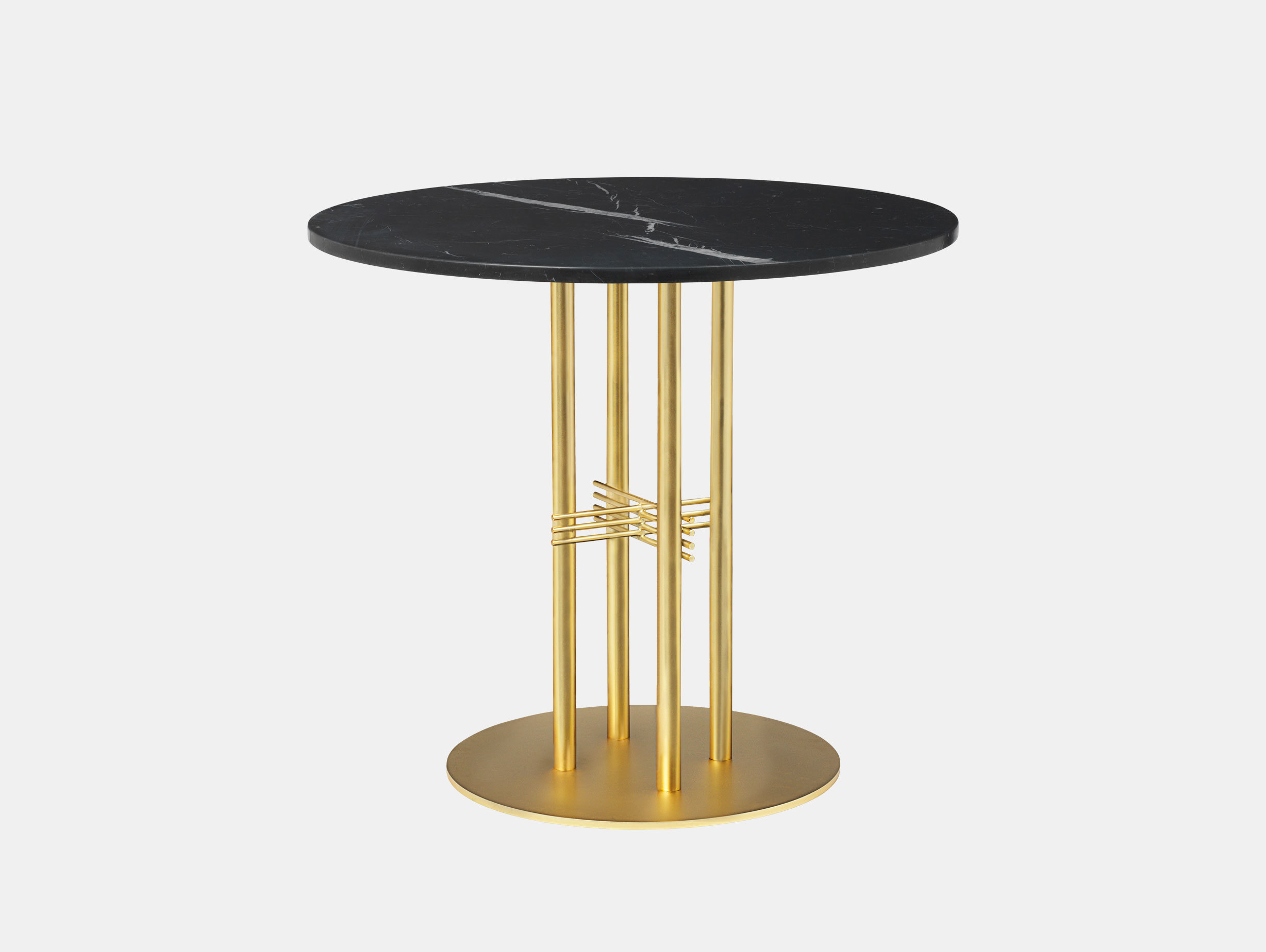 Gubi Ts Column Dining Table Brass Black Marble Gam Fratesi