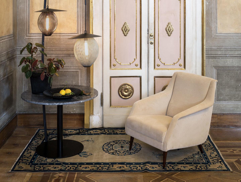 Gubi Cdc1 Lounge Chair Lounge Table Mategot Flower Pot Mategot Bowl Satellite Pendant