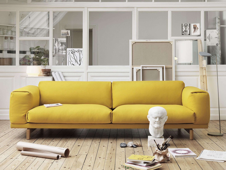 Muuto Rest Sofa Yellow Hallingdal 457 Leaf Floor Lamp