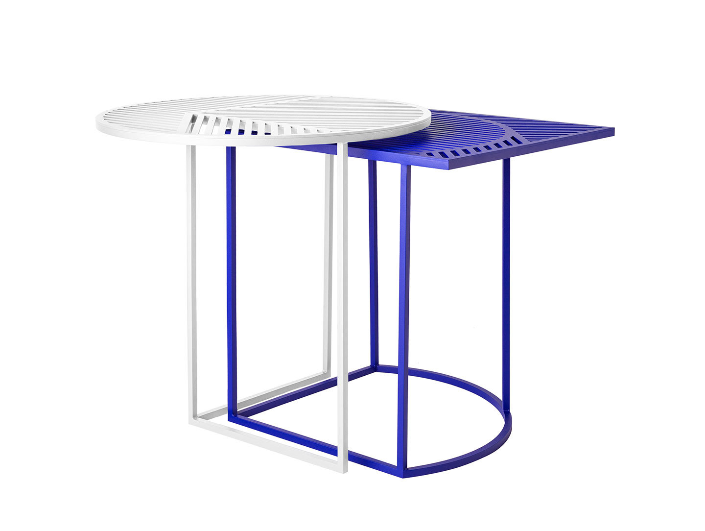 Petite Friture Iso Side Tables White Blue Pool