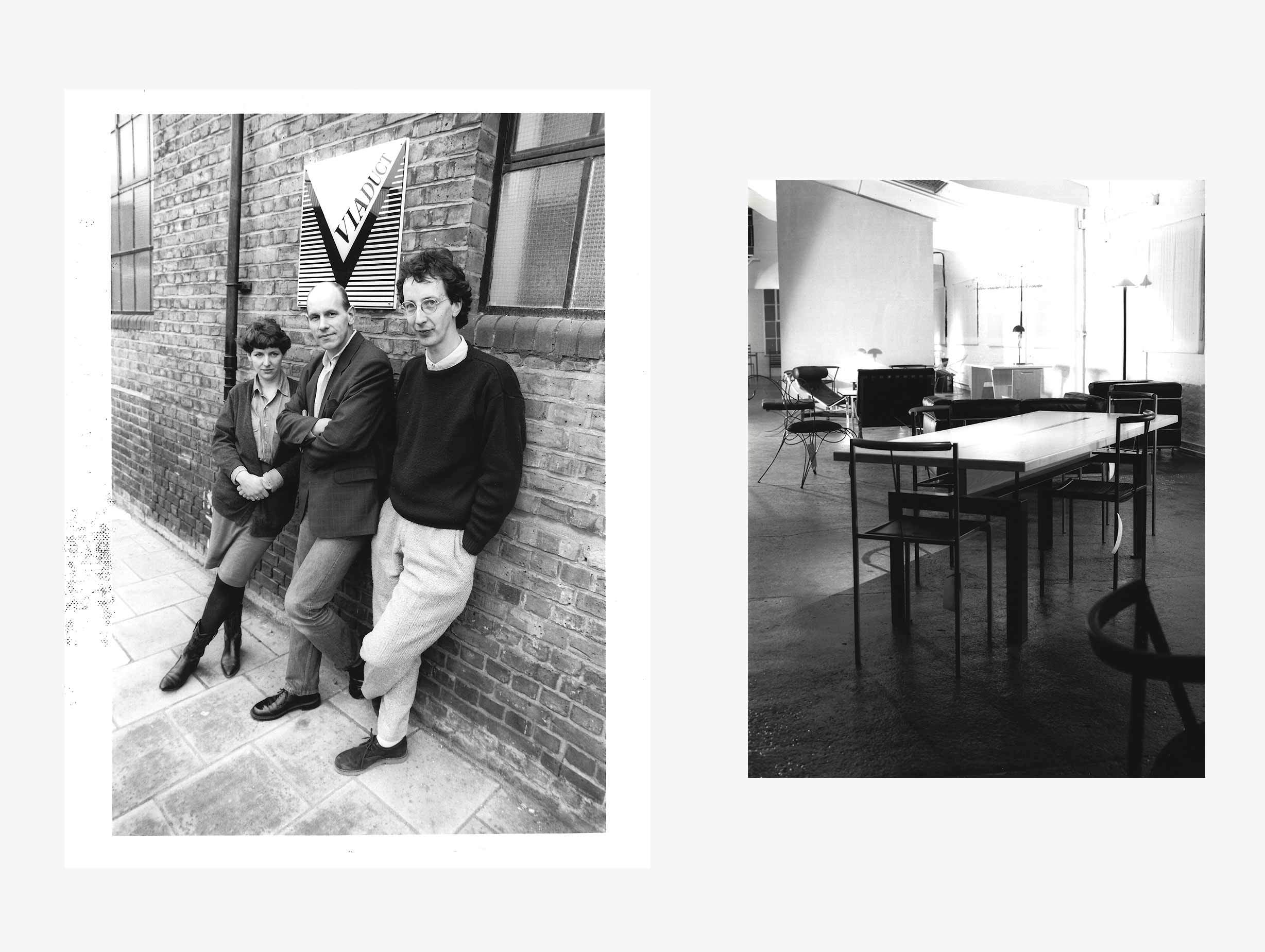 Left: L-R Kate Hayward, John Werner and James Mair. Right: Zeus Table and Sedia chair with Andre Dubreuil Ram chair in the background