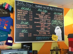 Big Sky Yeti Dogs Menu | Photo: D. Lennon