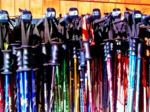 ski poles on rack | Shutterstock