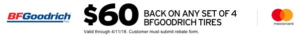 $60 back on BF Goodrich tires