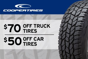 Cooper: $70 off truck tires / $50 off car tires