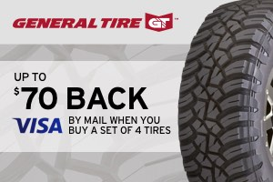 Up to $70 back on select General tires