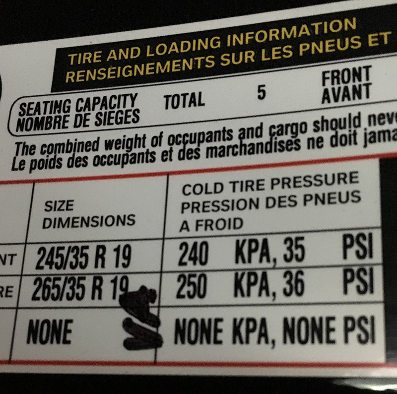 Tire information card