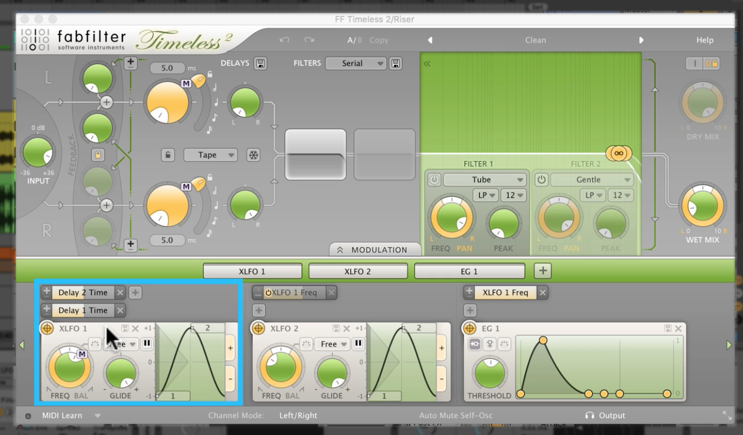 Fabfilter Timeless 2 - Create a riser with delay