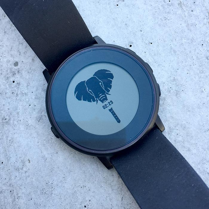 Elephant watch face on Pebble Time Round