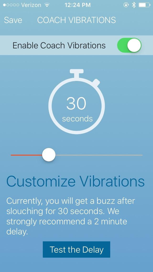 Lumo Lift app in Coach Vibrations mode