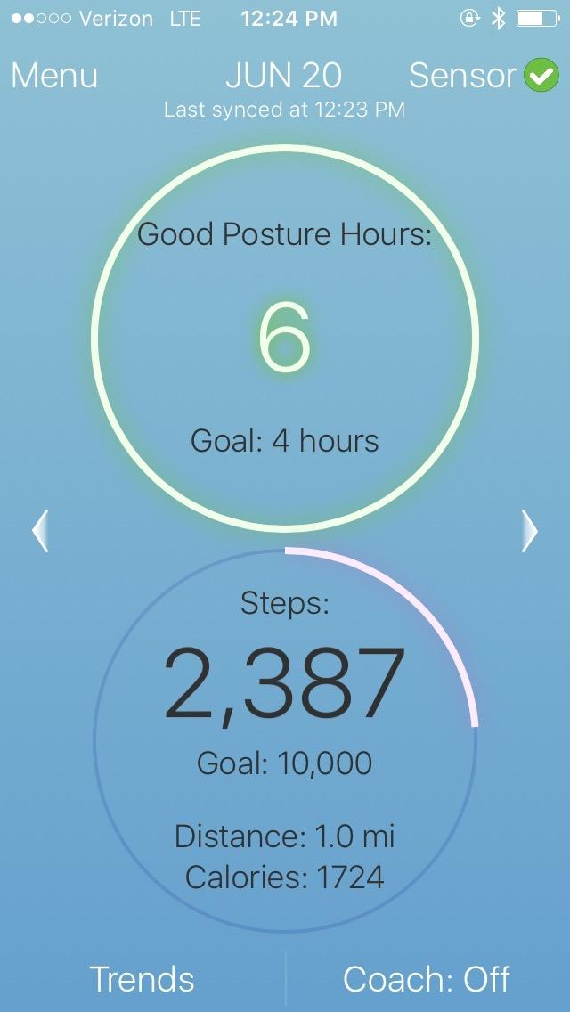 Screen of step counting in Lumo Lift app