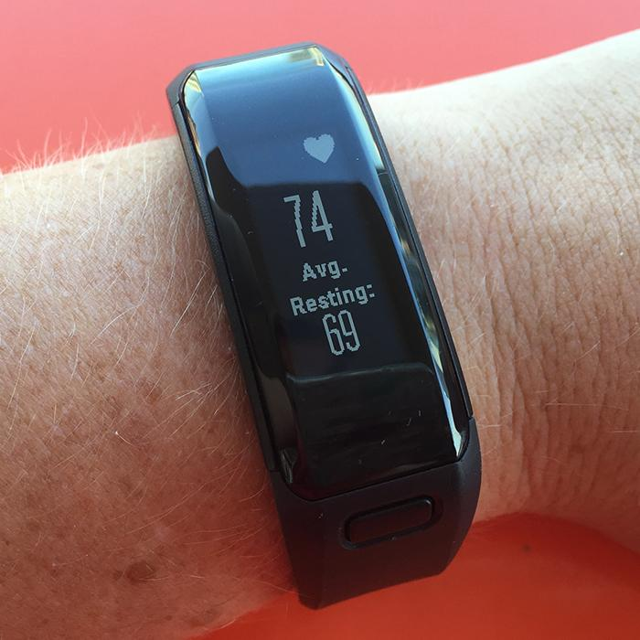 The Garmin Vivosmart HR displays current and resting heart rate