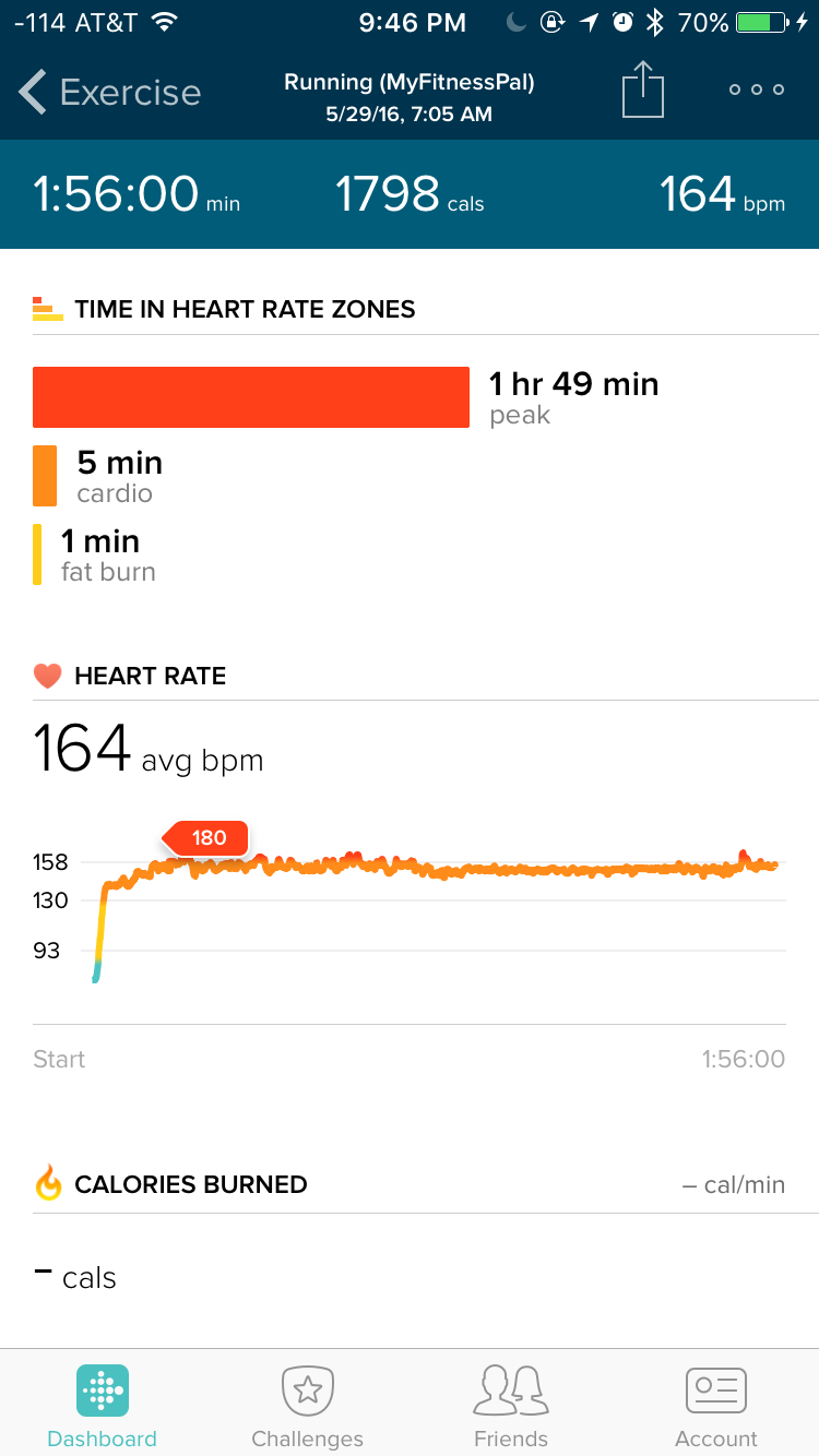 Fitbit app during half-marathon