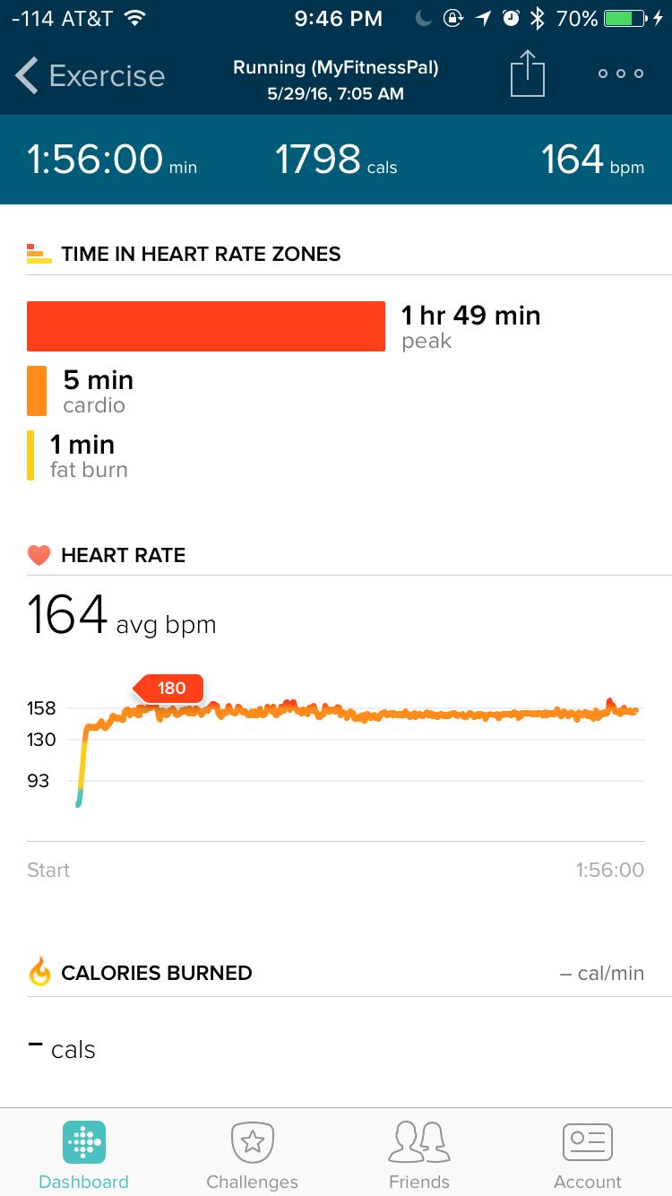 Fitbit app during half-marathon