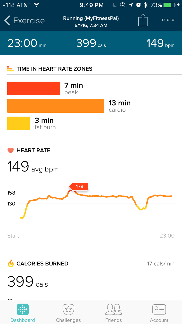 Fitbit app showing running