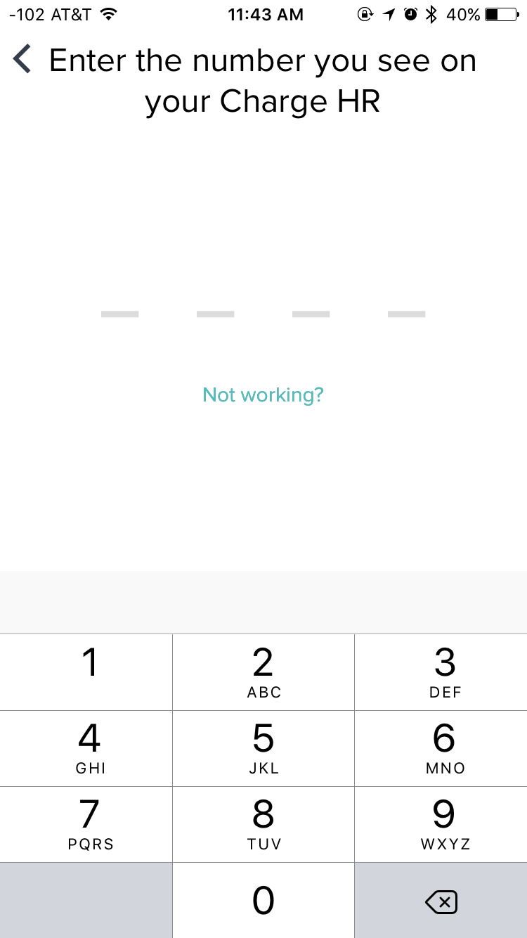 Fitbit sync screen