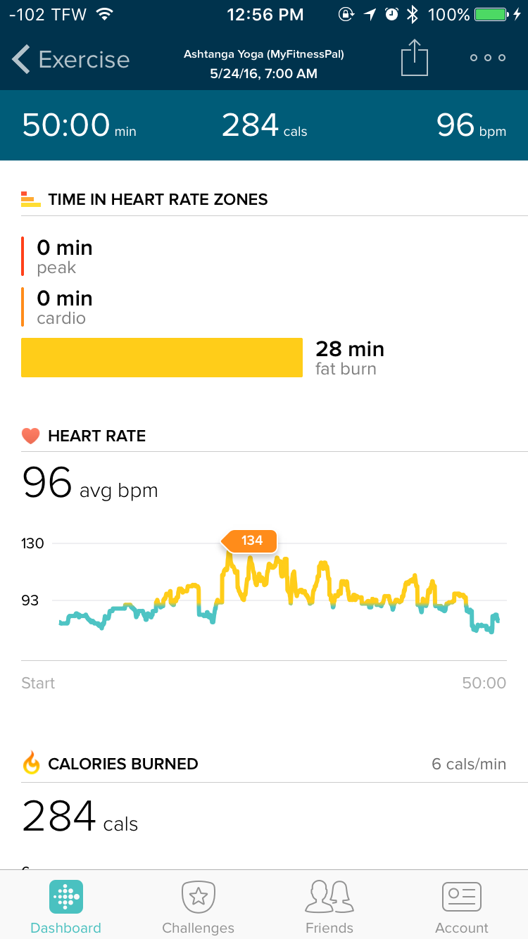 Fitbit app during yoga practice