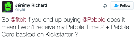 Tweet from Pebble user