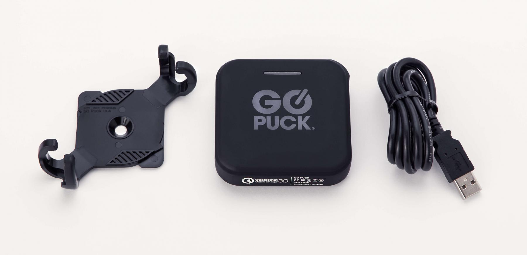Go Puck portably battery charger and cable, mount