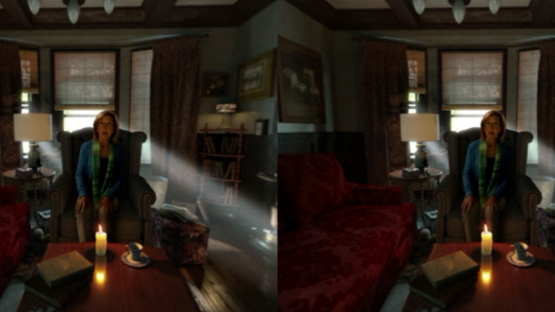 Woman sitting in chair during Insidious VR virtual game