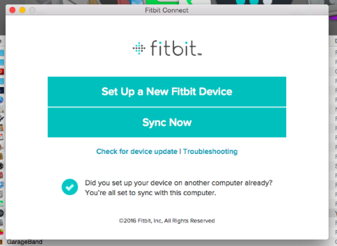Fitbit app showing