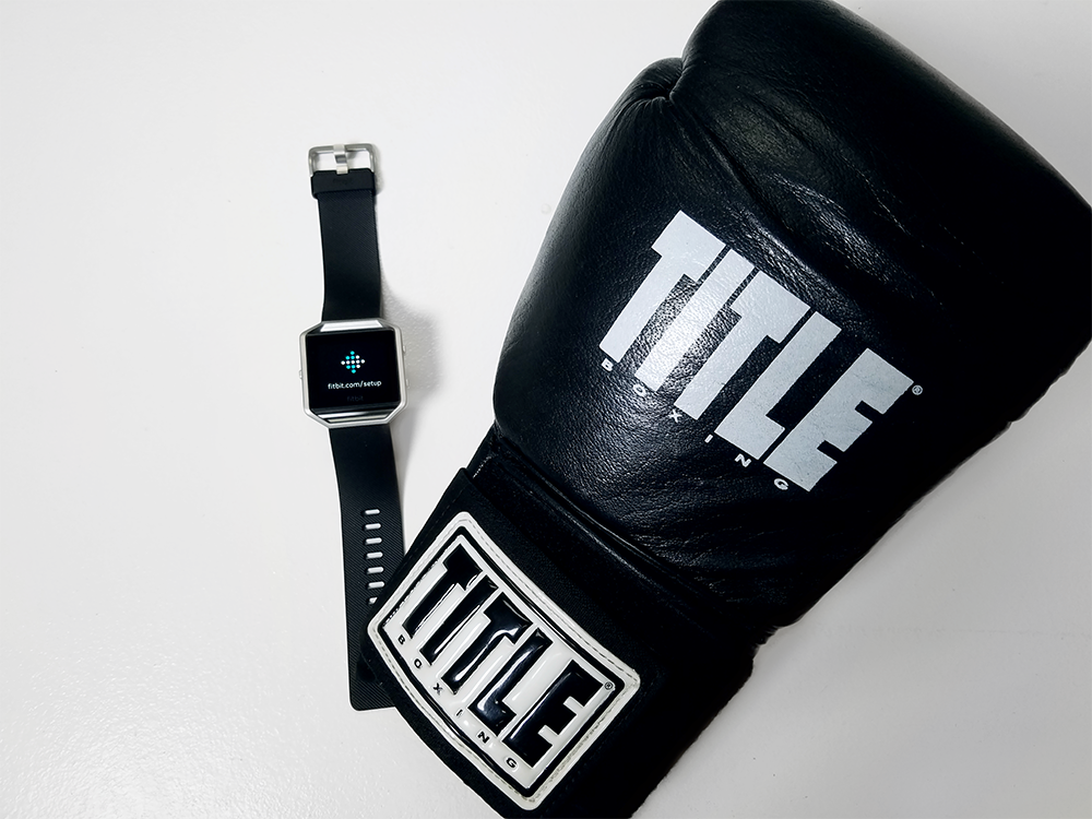 Fitbit Blaze with boxing glove