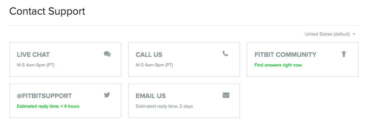 fitbit customer service screen