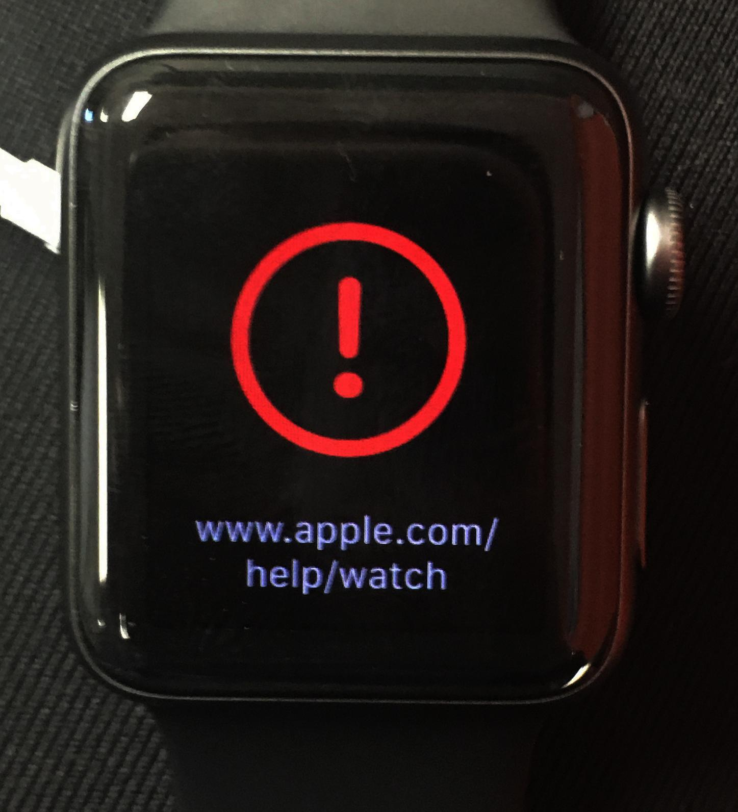 apple watch red exclamation mark