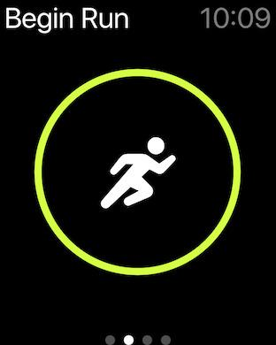 Nike+ Running screen on Apple Watch