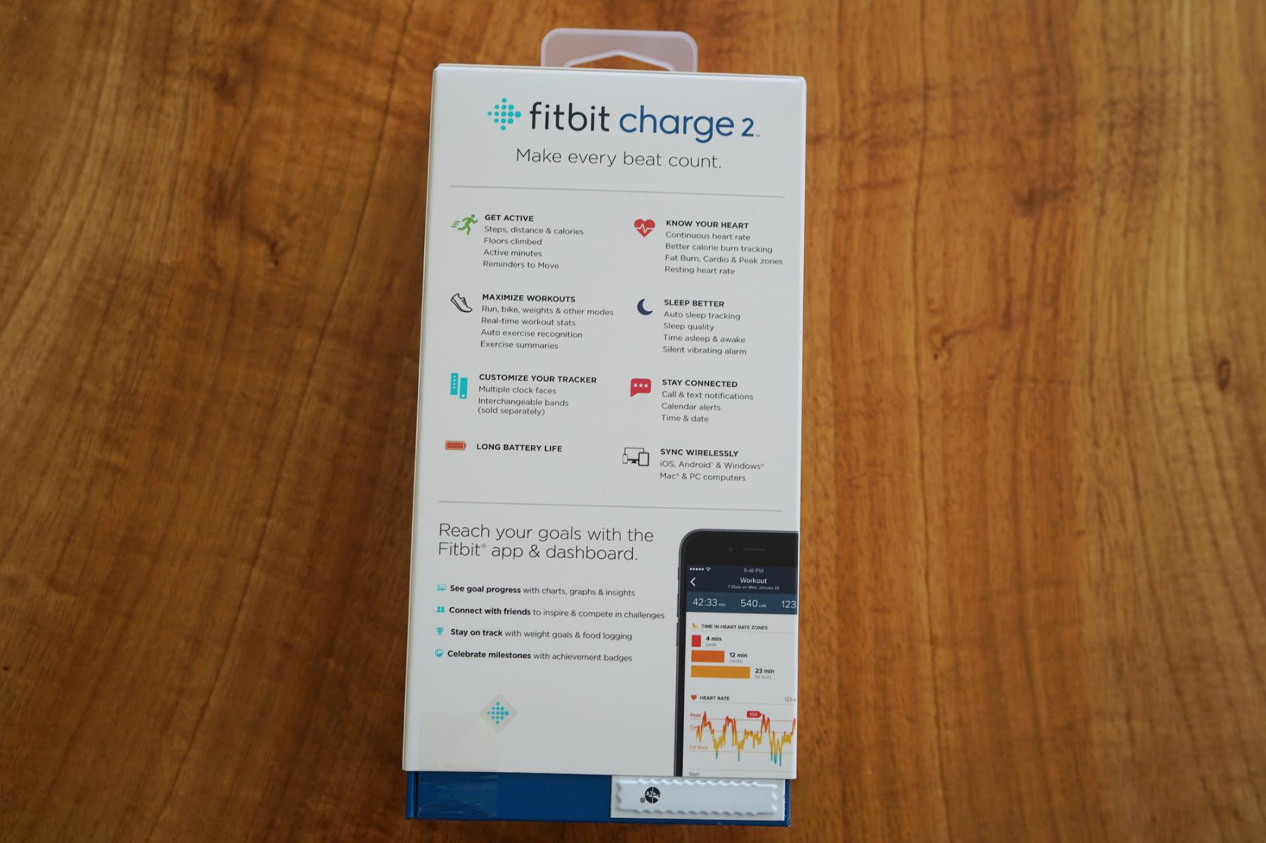 Fitbit Charge 2 back of box