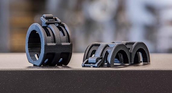 black multi jet fusion 3D printed parts