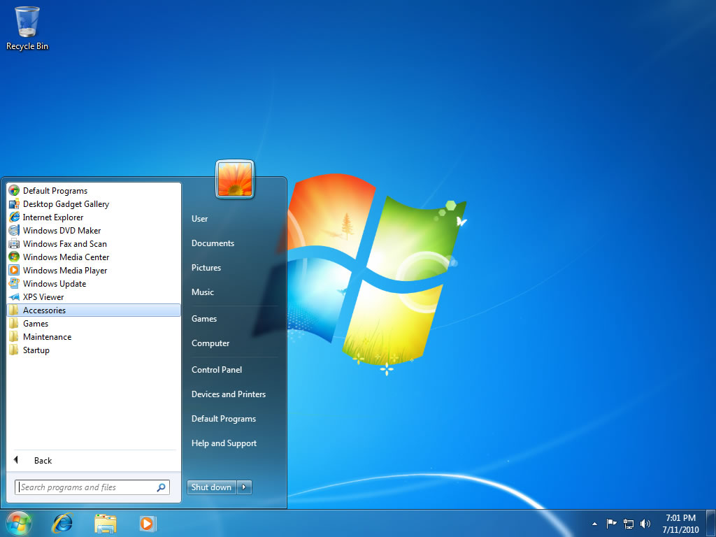Windows Vista / Windows 7 Flush DNS - Paso 2 - Haga clic en Accesorios