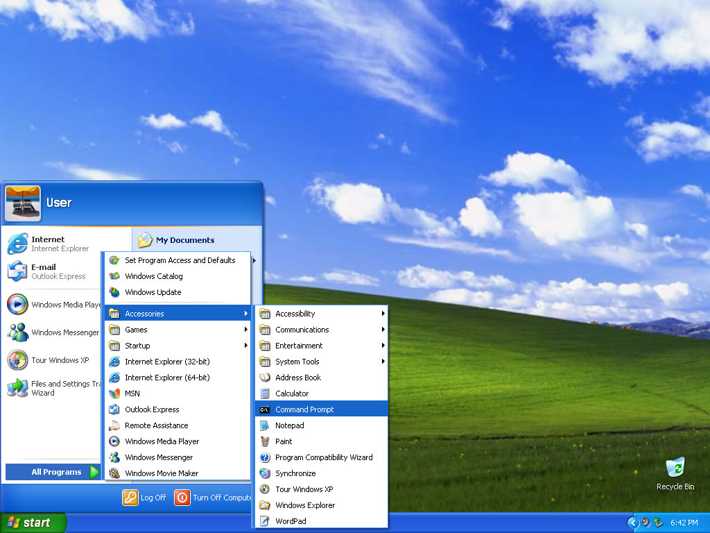 cmd prompt windows xp