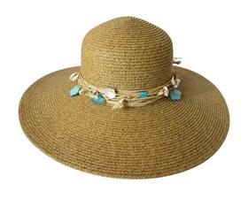 wholesale wide brim beach straw hat seashells